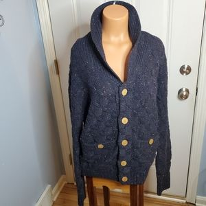 Bellfield vintage navy blue chunky knit sweater L